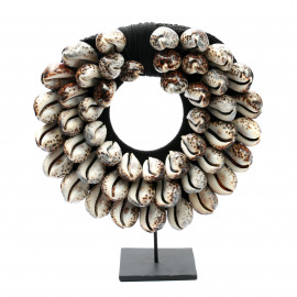 The Black Cowrie Necklace on Stand L