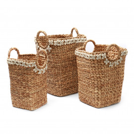 The Hyacinth Cowrie Shell Basket Set/3