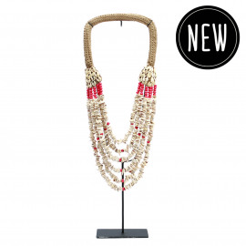 The White Button Red Pearl Necklace on Stand