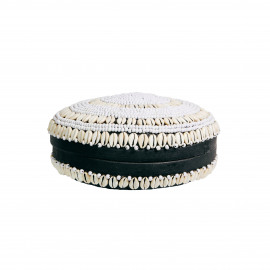 Bamboo Basket Black with Cowrie Shells