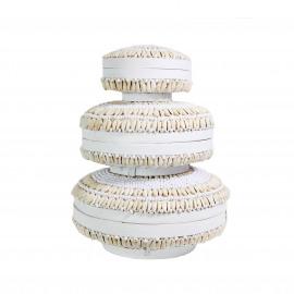 Mand rond Bamboo Wit met Cowrie schelpen Set/3