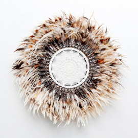 Wall Deco L Feather-Shell-Crochet Brown Ø60cm
