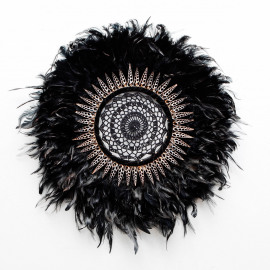 Wall Deco Feather Shell Crochet Black