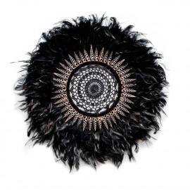Wall Deco L Feather-Shell-Crochet Black Ø60cm