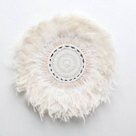 Wall Deco Feather Shell Crochet White