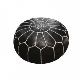 Pouf Leder Marrakech, rond met borduur Ø50 x H35cm