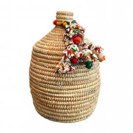 Basket Berber M Natural with Indian Tassel