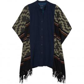 Mixed poncho shirt