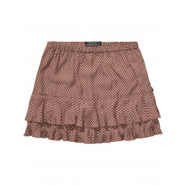 Silky feel pleated ruffle skirt