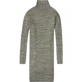 Knitted lurex blend turtleneck dress 16-FWLM-E88
