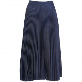 Cotton denim pleated skirt