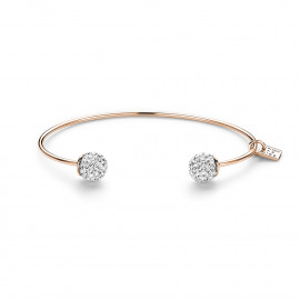 Rosé silver bangle, 2 balls with white crystals