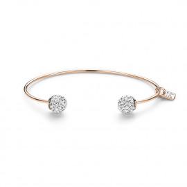 Rigide armband in rosé zilver, 2 bollen met witte kristallen