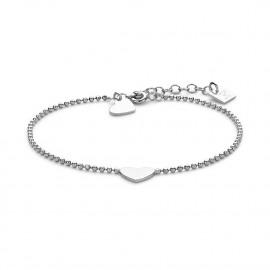 Armband in zilver met bolletjesketting en 2 hartjes