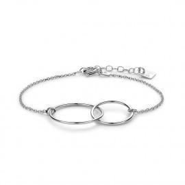 Armband in zilver met een dubbele cirkel