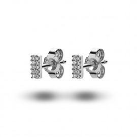 silver earrings, small rectangle, zirconia