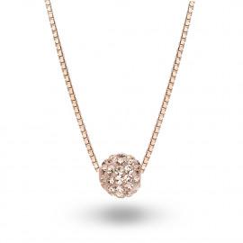 Halsketting in rosé zilver met een witte kristallen bol