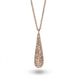 Halsketting in rosé zilver met een druppel vol perzik kristallen