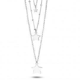 halsketting in zilver, driedubbele ketting, sterren