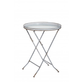COMPTESSE - side table - metal/mirror - blue grey-  D49,5xH64