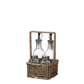 NATURA  - mandje zout/peper/olie/azijn - ratan/glas - zwarte washing - 14x14x21,5 cm