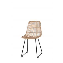 SUN - stoel - rattan/metaal - naturel/zwart - 56,5x46x83 cm