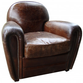CLUB Armchair leather, vintage cigar color, 1 seat