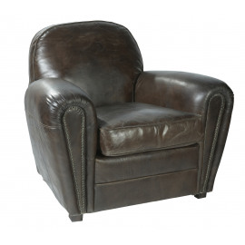CLUB Armchair, leather, Mountain black finish
