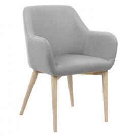 EERO - stoel - polyester - grijs - naturel houten poten - 57,5x59x82 cm