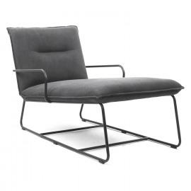 ASCOLI - lounger armchair - black metal leggs - cotton vintage charcoal - 69x125x77cm