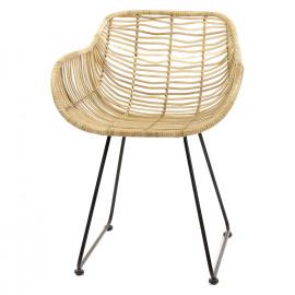 EL AITO - Fauteuil - pieds métal noir - rotin / bambou - naturel - 52x55x73 cm
