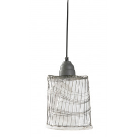 Hanging lamp - metal wire - with white fabric