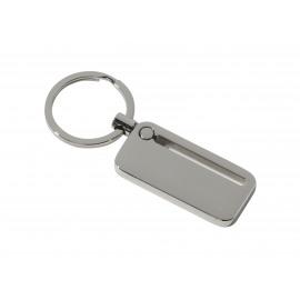 Langwerpige metale sleutelhanger - Met 7 diamante steentjes - Nikkel finish - 33mm platte ring
