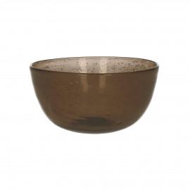 VICTOR - kom - glas - DIA 12 x H 5,5 cm - bruin