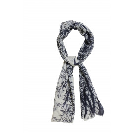 TREE - sjaal - wol & zijde - W & B - 55x180 cm