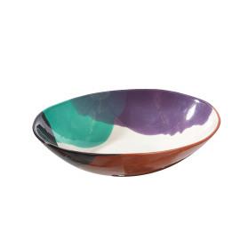 PLAYA - vegetable dish - earthenware - L - hand painted - dark gray - 30x6,5 cm