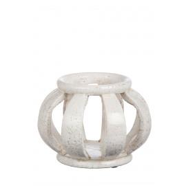 MADRAS - windlicht - aardewerk - wit - L- 24x18cm