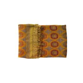 SALOME - Plaid - wol/zijde - geel/oranje - 150x150cm