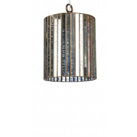CHARLESTON - hanging lamp 1L - glass/brass - antic finish - E27 - Ø30xH50 cm