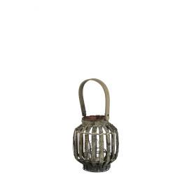 LAPON - lantaarn met handvat - berkenhout/ijzer - grijs - S