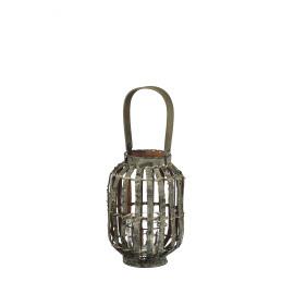 LAPON - lantaarn met handvat - berkenhout/ijzer - grijs - M