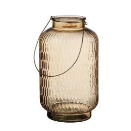 PRISM - lantern - glass/metal - amber - L - Ø22x38 cm