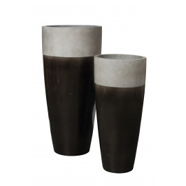 CITY'ZEN - set of 2 high flowerpot - ficonstone 3/4 glazed - anthracite - S Ø37x80 + L Ø47x99,5 cm