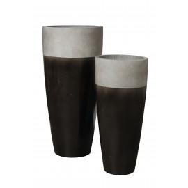 CITY'ZEN - set of 2 hoge bloempot - ficonstone 3/4 geglazuurd - anthraciet - S Ø37x80 + L Ø47x99,5 cm