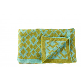 BONNIE - throw knitted- 20% wool/80% acrylic - lime/yellow- 125x150 cm