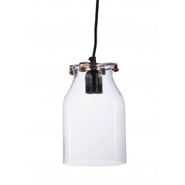 ICE - suspension verre, cerclage métal  - verre/metal - cuivre brillant - H24 cm - E27