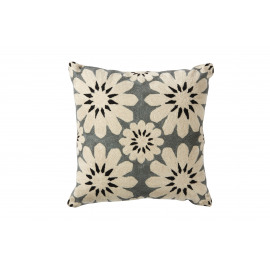 PISTIL - hand embroidered cushion - wool/cotton canvas - cream/grey/black - 40x40 cm