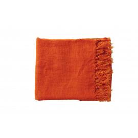 CARAVANSERAIL - plaid met franjes - 100% linnen - tomate - 130x170 cm
