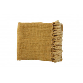 CARAVANSERAIL - Plaid met franjes - 100% linnen - safraan - 130x170 cm