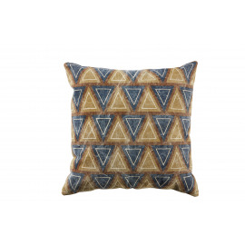 BOSSA - cushion w/ triangle - canvas coton - navy - 45x45 cm